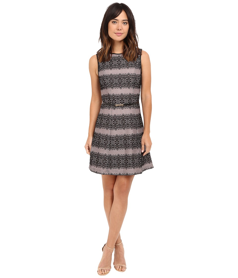 Jessica Simpson Bonded Stripe Lace Dress (Black/Shell Pink) Women