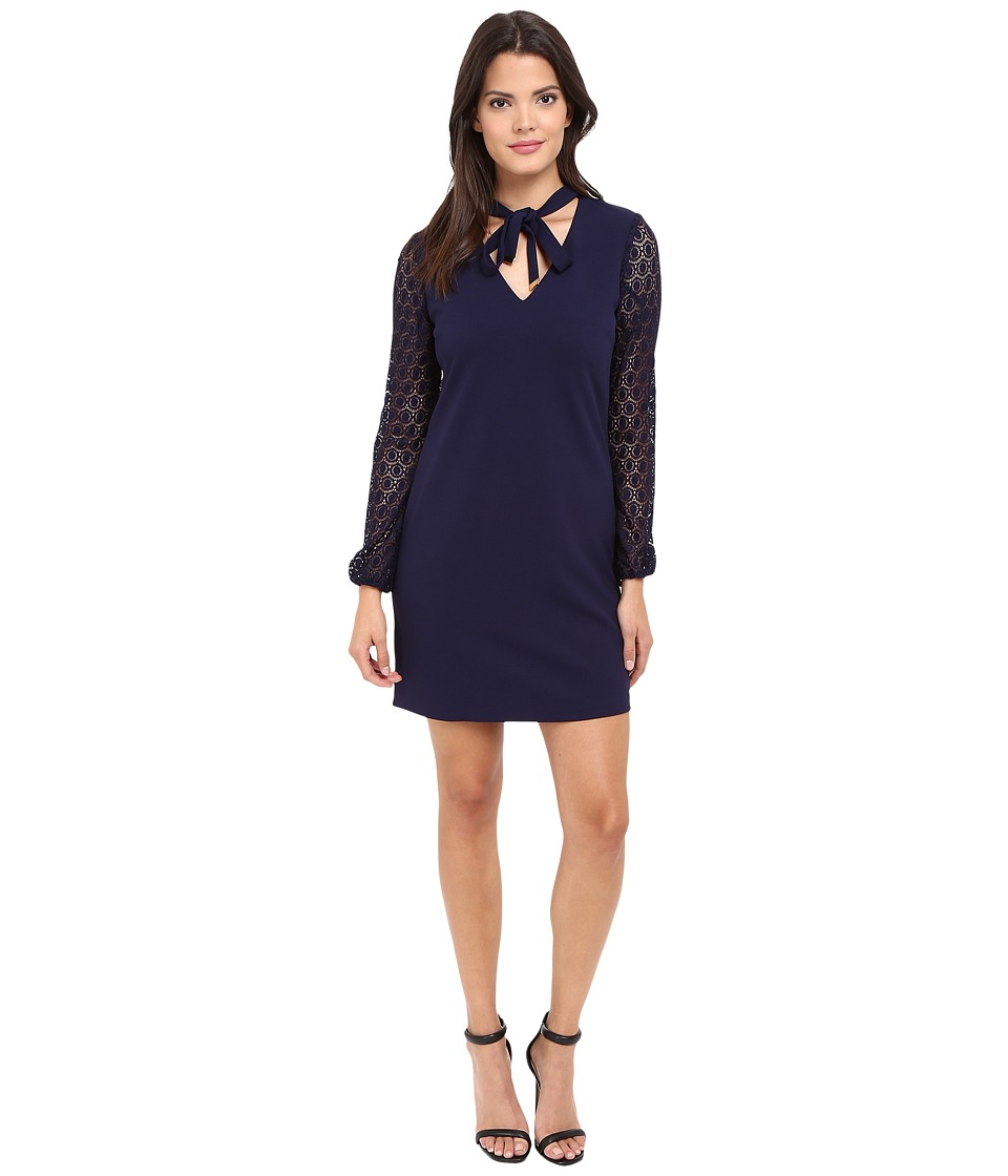 Jessica Simpson Solid Shift with Lace Sleeves (Peacoat) Women