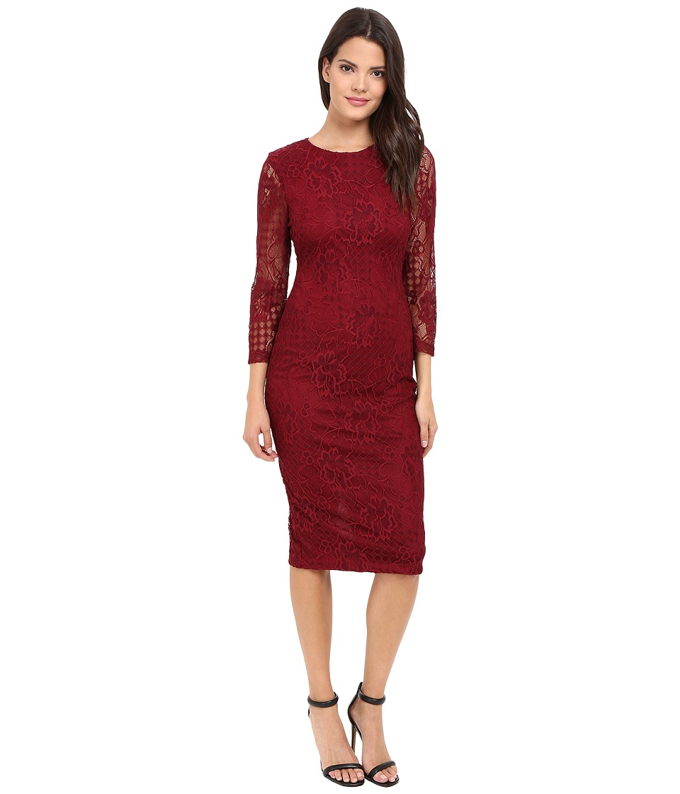 Jessica Simpson - Floral Lace Midi Dress (Cabernet) Womens Dress