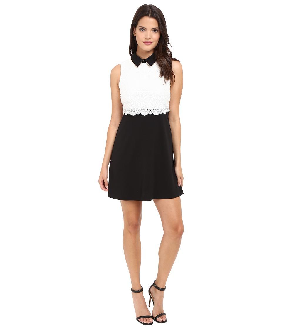 Jessica Simpson Collard Lace Combo Dress (Black/White) Women