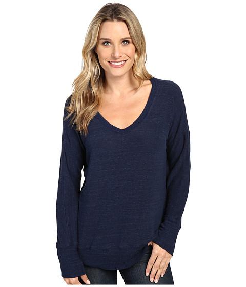 Allen Allen Long Sleeve Sweater Vee - Lapis