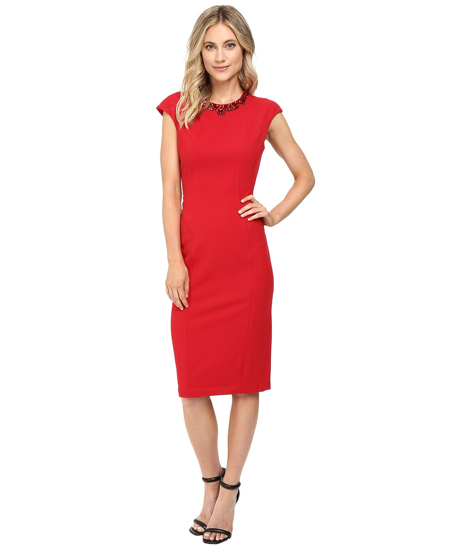 Maggy London Crepe Scuba Sheath Dress with Embellished Neck (New Red) Women