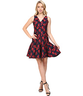 Maggy London - Shadow Floral Jacquard Deep V-Neck Fit and Flare Dress