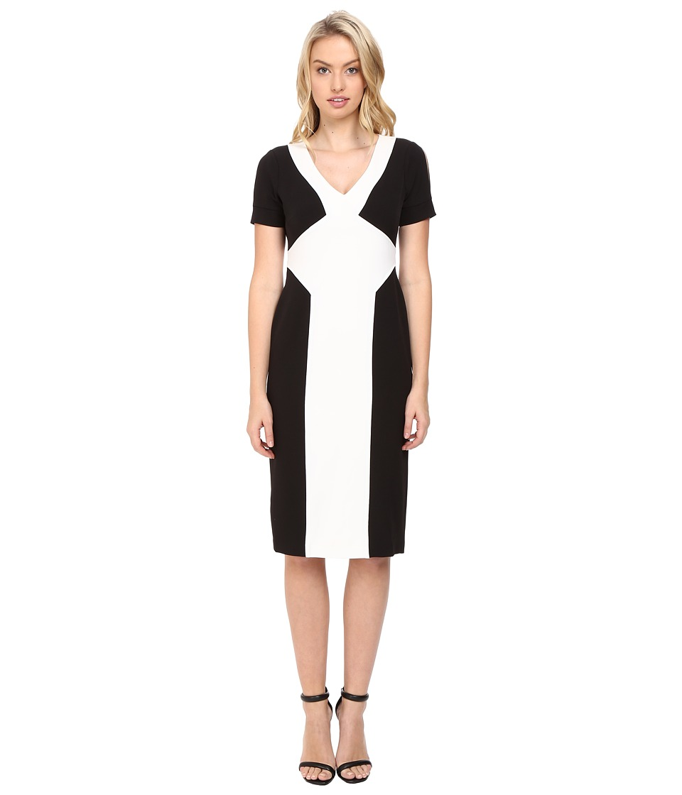 Maggy London - Crepe Scuba Colorblock Sheath Dress BlackCreme Womens Dress $128.00 AT vintagedancer.com