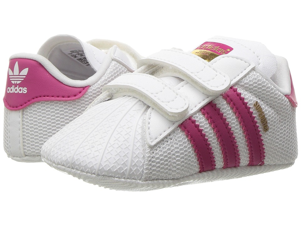 adidas Originals Kids Superstar Crib (Infant/Toddler) (White/Bold Pink) Girls Shoes