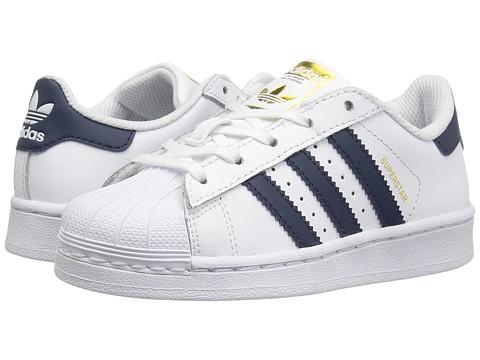adidas Originals Kids Superstar (Little Kid) - White/Navy/Gold