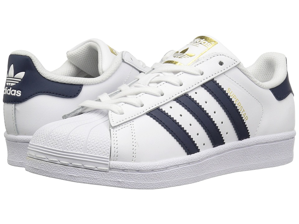 adidas Originals Kids - Superstar (Big Kid) (White/Navy/Gold) Kids Shoes