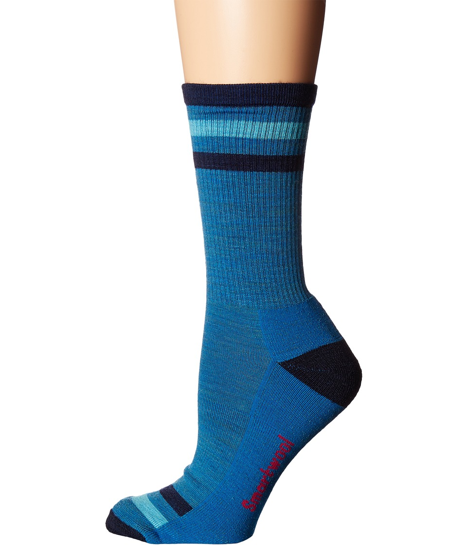Smartwool Striped Hike Light Crew (Glacial Blue) Women's ...