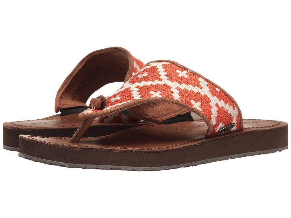 Acorn - ArtWalk Leather Flip (Orange/Cream Southwest) Women's Sandals