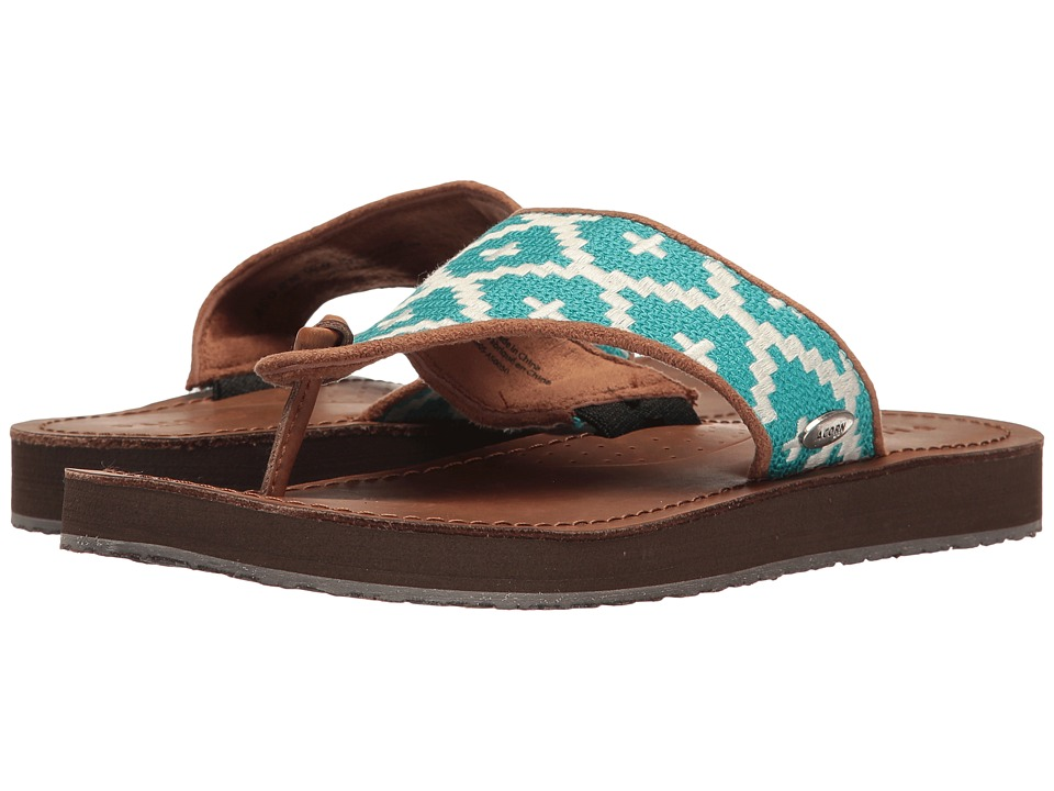 Acorn ArtWalk Leather Flip (Turquoise/Cream Southwest) Women