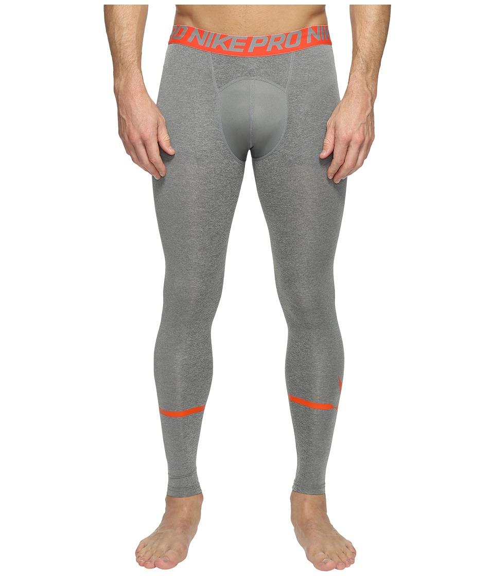 Nike Pro Swoosh Compression Tight (Carbon Heather/Max Orange) Men