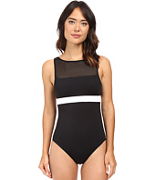 LAUREN Ralph Lauren - Mesh Blocked Solids Hi-Neck One-Piece