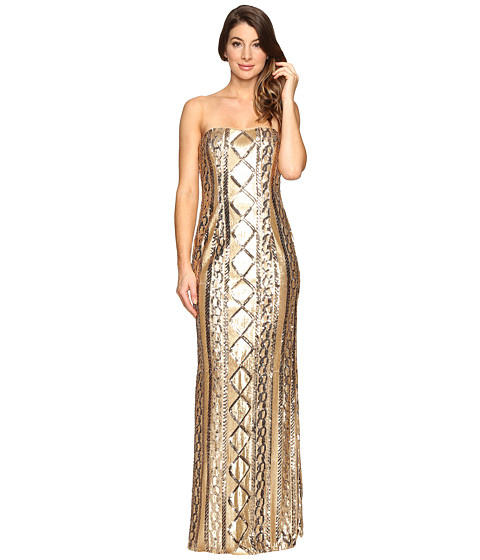 Adrianna Papell Strapless Cable Sequin Gown - Gold
