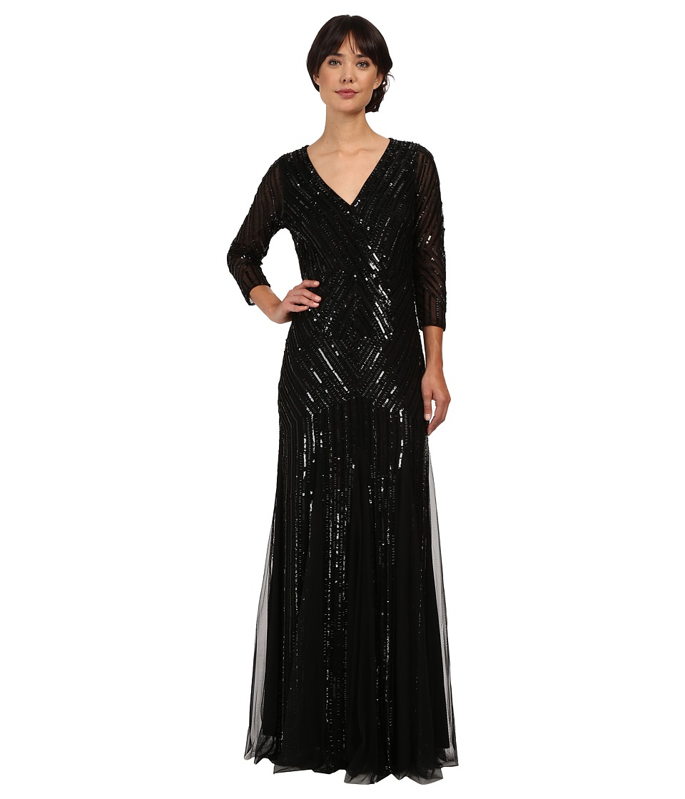 Image of Adrianna Papell - 3/4 Sleeve Beaded Wrap Front Gown (Black) Women's Dress