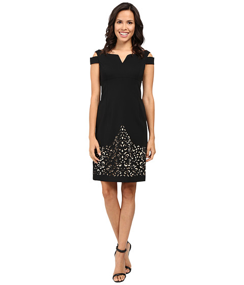 NUE by Shani Crepe Dress with Cold Shoulders and Laser Cutting Skirt