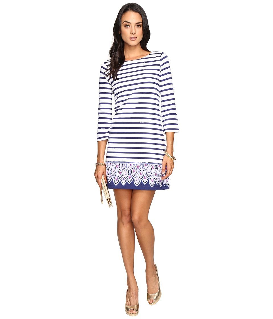Lilly Pulitzer Bay Dress (Bright Navy Serene Stripe Engineered) Women