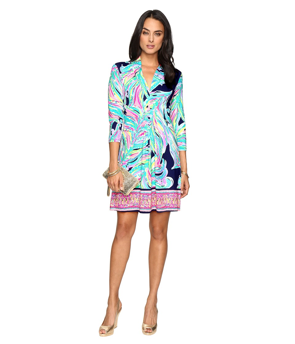 Lilly Pulitzer Margate Dress (Bright Navy Dont Leave Me Hanging) Women