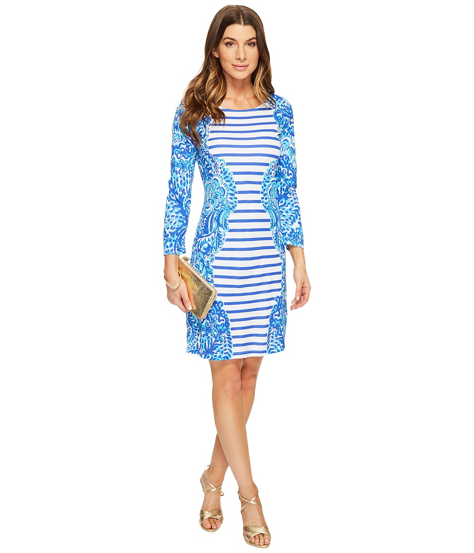 Lilly Pulitzer Nila Dress (Brilliant Blue Moon Jellies Stripe Engineered) Women