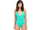 LAUREN Ralph Lauren Beach Club Solids Cross-Back One-Piece