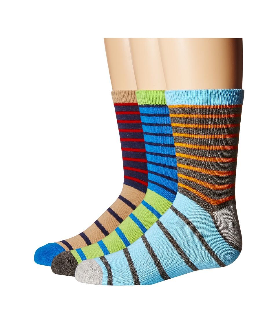 Jefferies Socks Stripe Crew Socks 3-Pair Pack (Toddler/Little Kid/Big Kid) (Blue/Grey/Navy) Boys Shoes