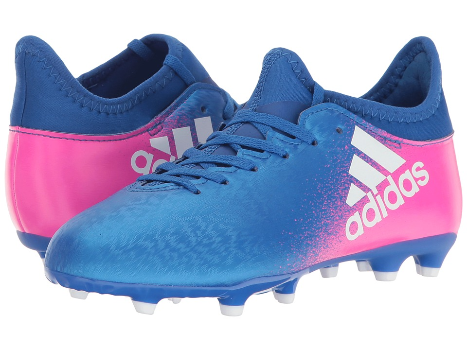 adidas Kids X 16.3 FG Soccer (Little Kid/Bid Kid) (Blue/Footwear White/Shock Pink) Kids Shoes