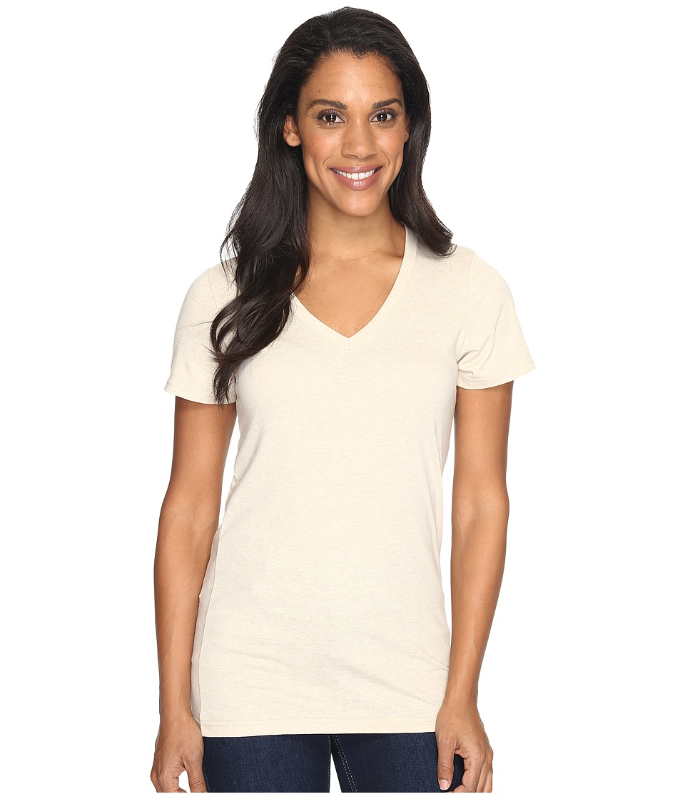 The North Face Short Sleeve Boyfriend Tri-Blend Tee (TNF Oatmeal Heather/Light Mahogany) Women