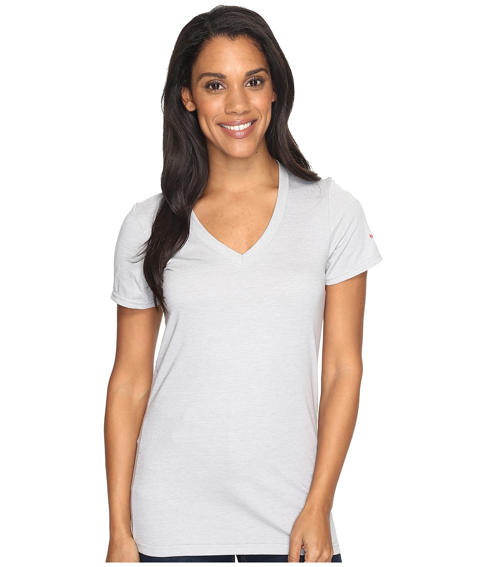 The North Face Short Sleeve Boyfriend Tri-Blend Tee (TNF Light Grey Heather/Honeysuckle Pink) Women