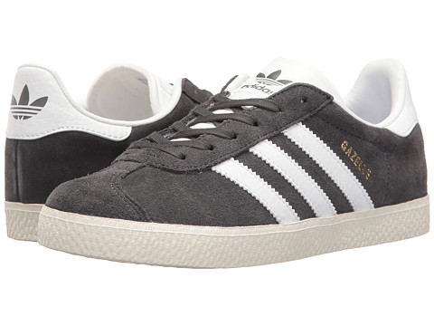 adidas Originals Kids Gazelle (Big Kid) - Solid Grey/White/Gold Metallic