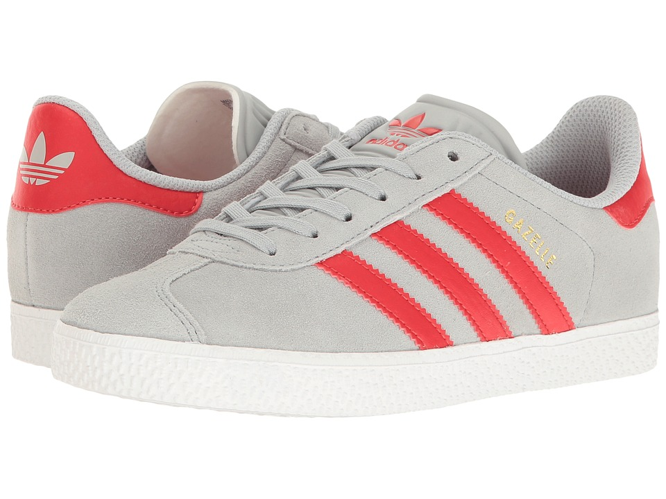 adidas Originals Kids Gazelle (Big Kid) (Clear Onix/Red/Gold) Kids Shoes
