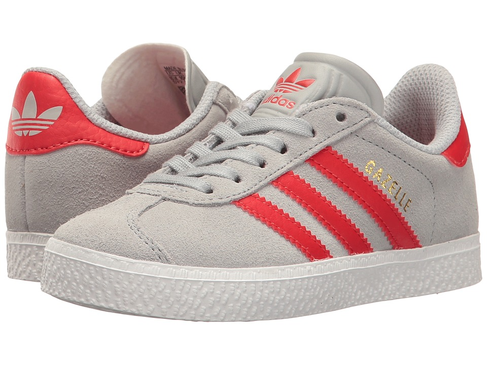 adidas Originals Kids Gazelle (Little Kid) (Clear Onix/Red/Gold) Kids Shoes