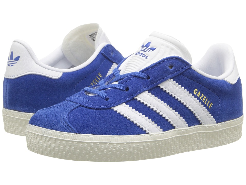 adidas Originals Kids Gazelle (Toddler) (Blue/White/Gold) Kids Shoes