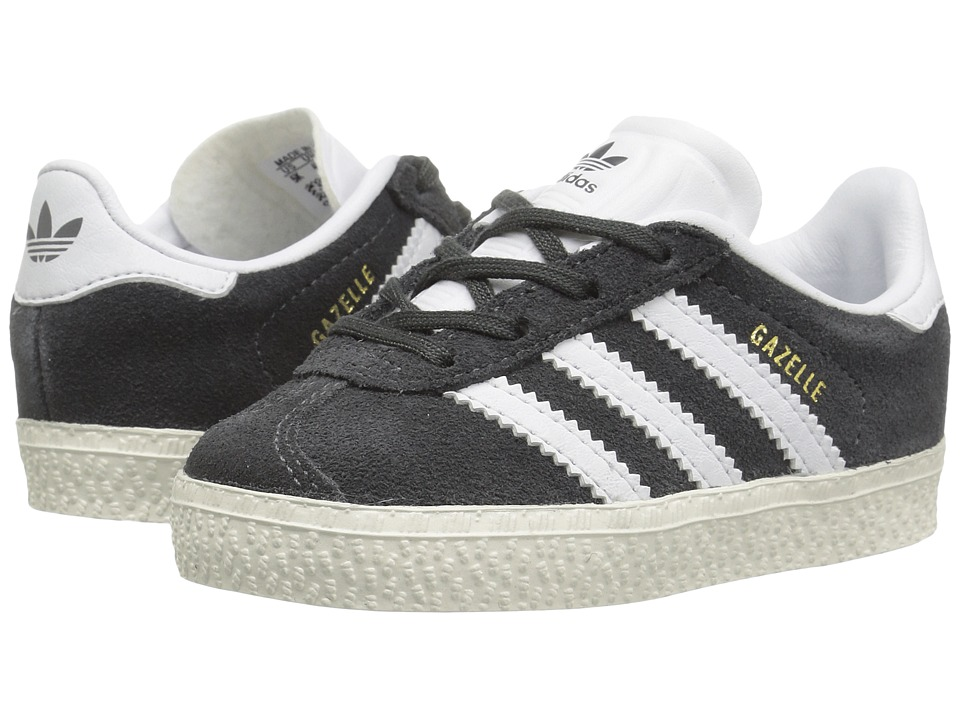 adidas Originals Kids Gazelle (Toddler) (DGH Solid Grey/White/Gold) Kids Shoes