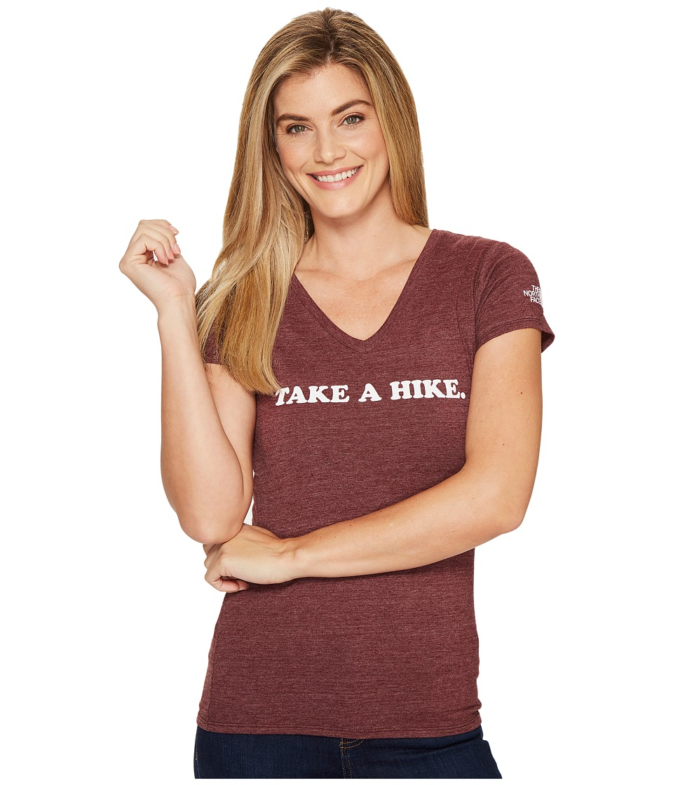 The North Face Short Sleeve Take a Hike V-Neck Tri-Blend Tee (Deep Garnet Red Heather) Women
