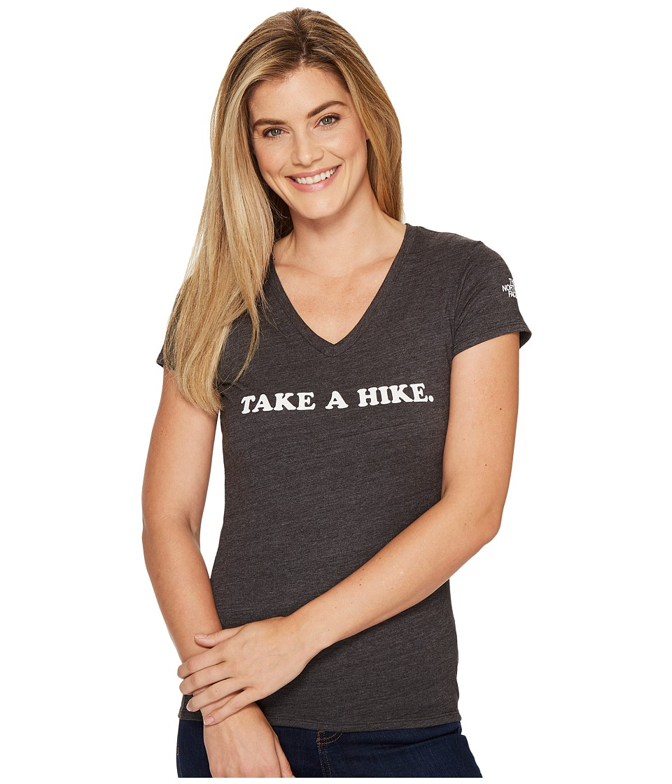 The North Face Short Sleeve Take a Hike V-Neck Tri-Blend Tee (TNF Dark Grey Heather) Women