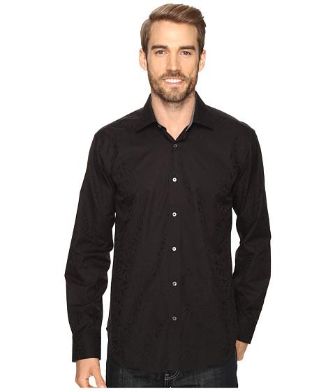 BUGATCHI Italo Long Sleeve Woven Shirt - Black