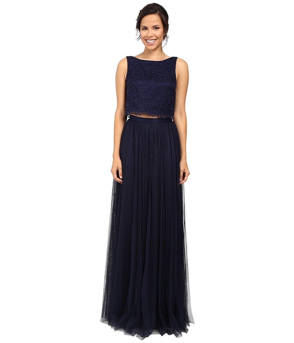 Donna Morgan Alexis Lace Top Skirt (Indigo) Women