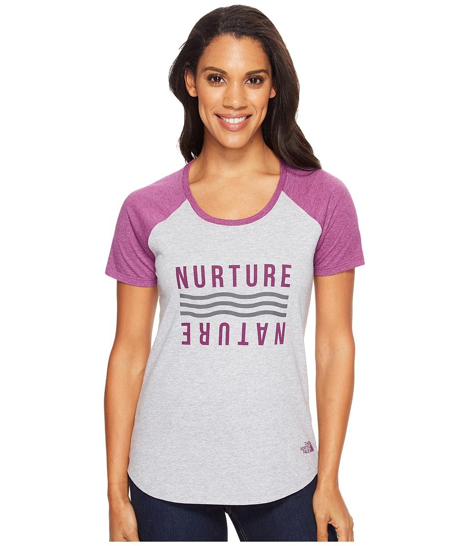 The North Face Short Sleeve Nurture Baseball Tee (TNF Light Grey Heather/Wood Violet Heather) Women