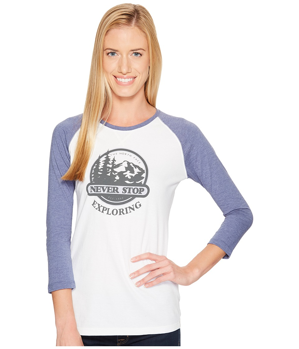The North Face Sierra 3/4 Sleeve Baseball Tee (TNF White/Coastal Fjord Blue Heather) Women