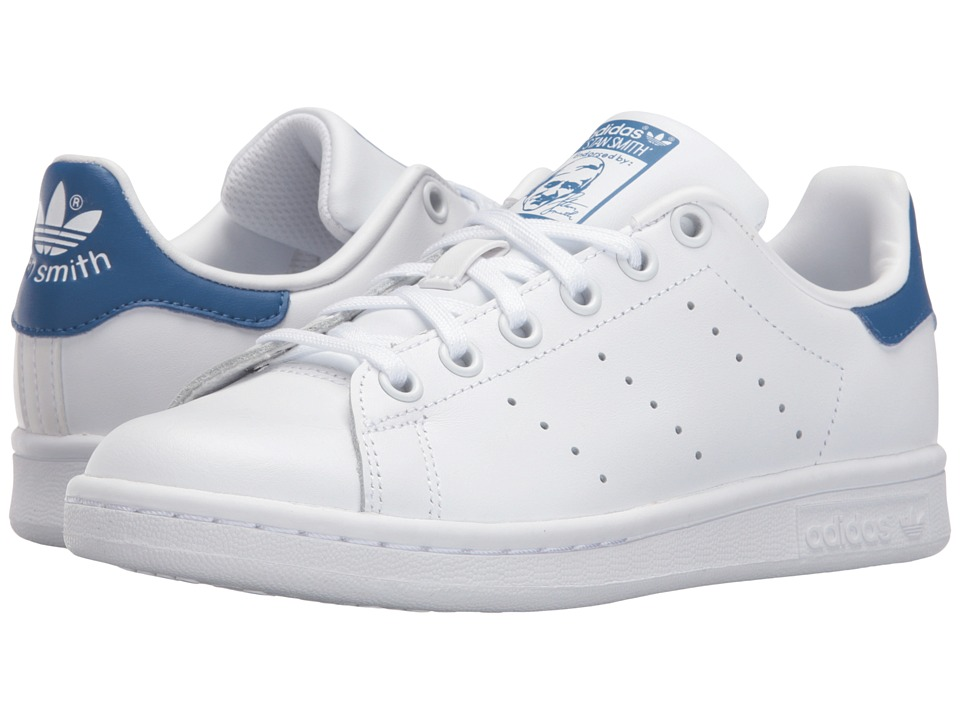 adidas Originals Kids Stan Smith (Big Kid) (Footwear White/Footwear White/EQT Blue) Kids Shoes