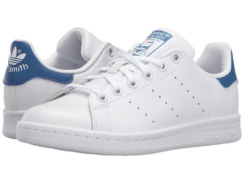adidas Originals Kids Stan Smith (Big Kid) - Footwear White/Footwear White/EQT Blue