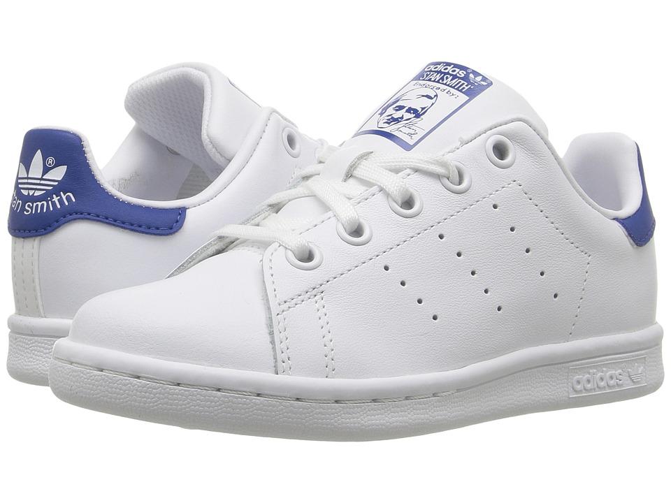 adidas Originals Kids Stan Smith (Little Kid) (Footwear White/Footwear White/EQT Blue) Kids Shoes