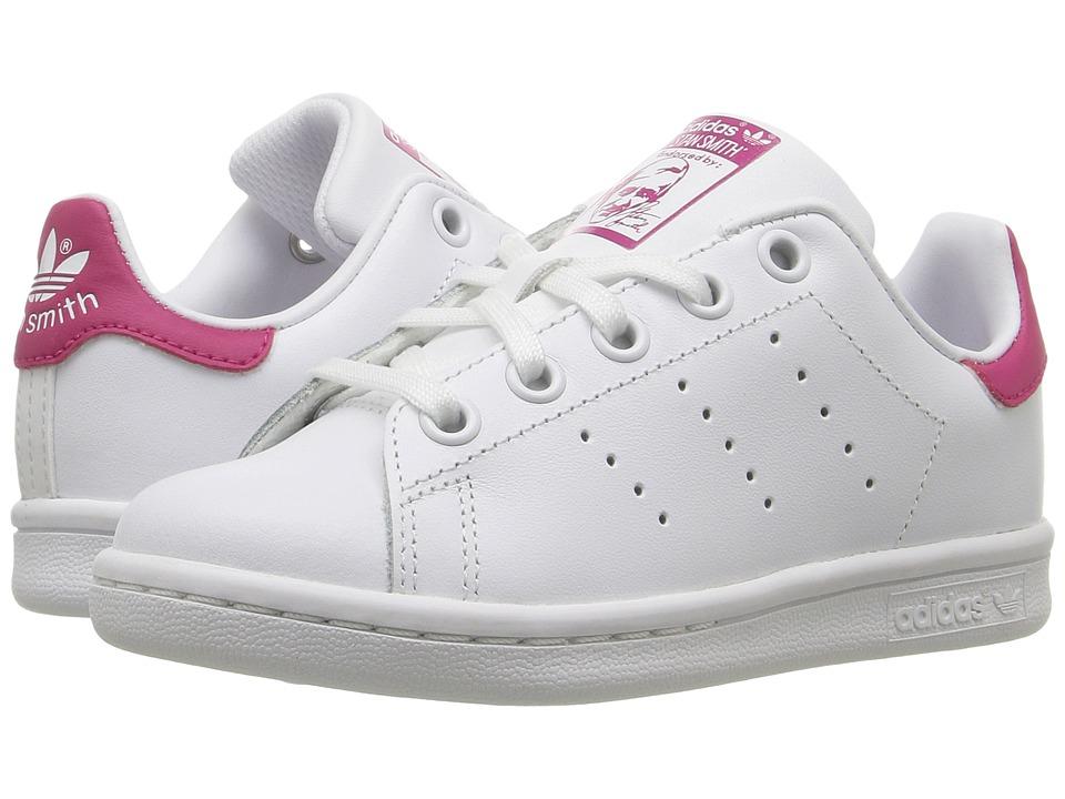 adidas Originals Kids Stan Smith (Little Kid) (Footwear White/Footwear White/Bold Pink) Girls Shoes