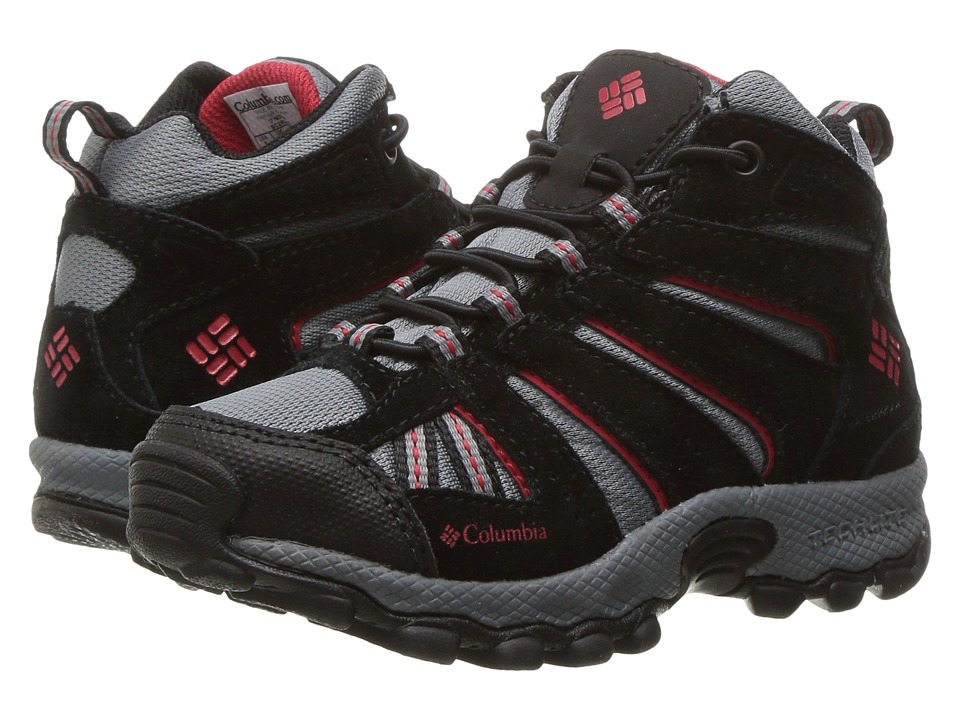 Columbia Kids - North Plains Mid Waterproof (Toddler/Little Kid) (Grey Ash/Mountain Red) Boys Shoes