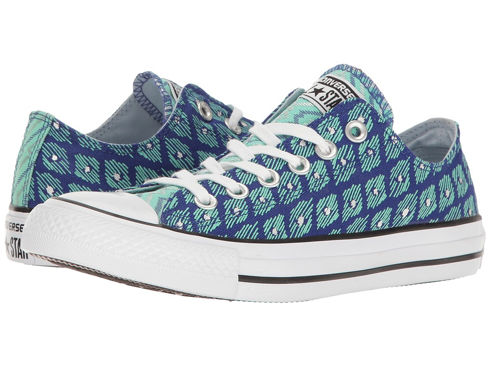 Converse Chuck Taylor All Star Festival Print Ox (True Indigo/Green Glow/White) Women