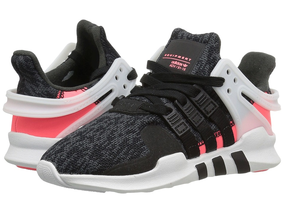 adidas Originals Kids EQT Support ADV (Little Kid) (Core Black/Core Black/Turbo) Girls Shoes