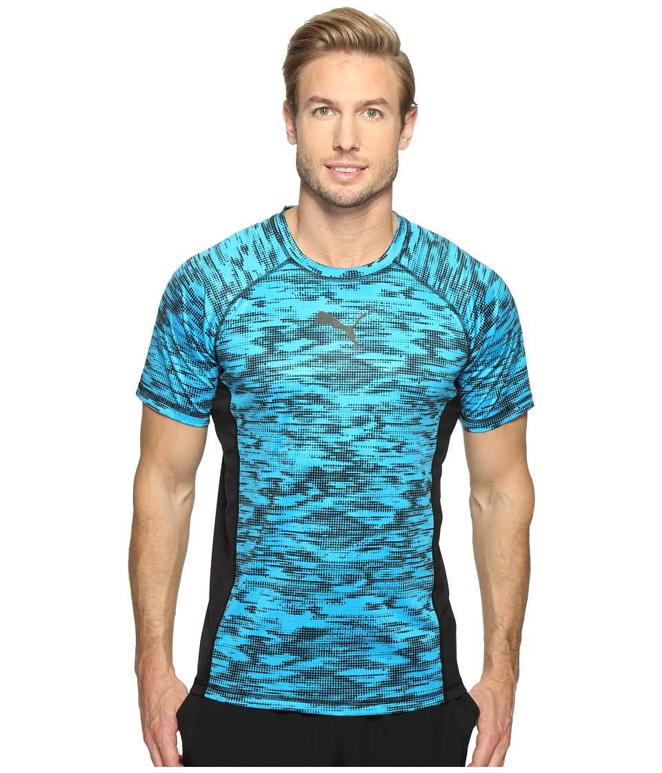 PUMA Vent Short Sleeve Graphic Tee (PUMA Black/Blue Danube) Men