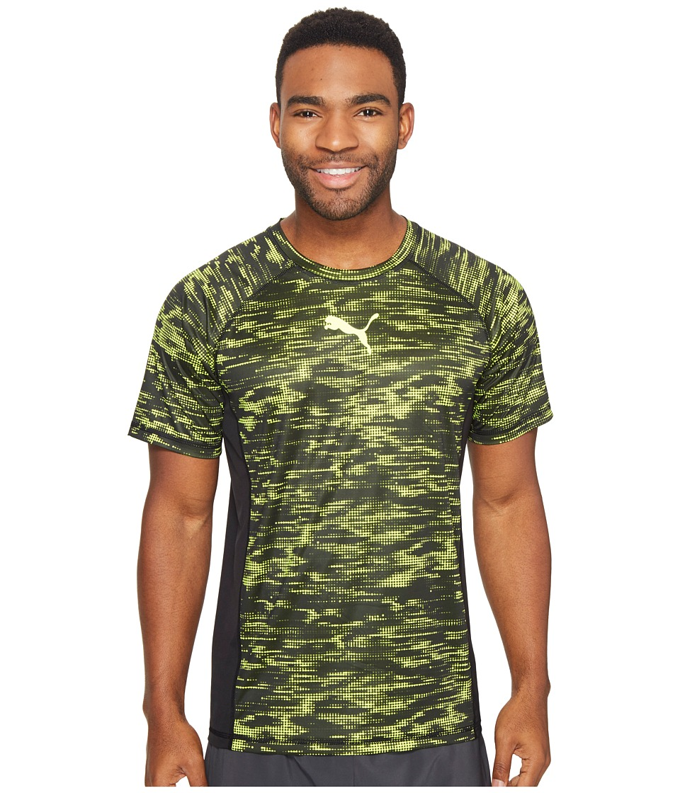 PUMA Vent Short Sleeve Graphic Tee (Puma Black/Safety Yellow) Men