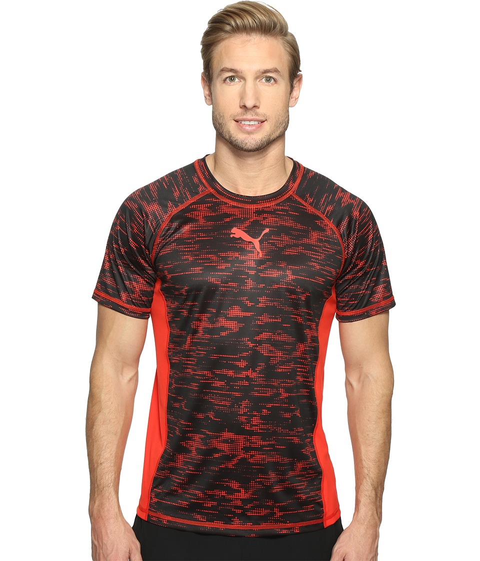 PUMA Vent Short Sleeve Graphic Tee (Puma Red/Black) Men