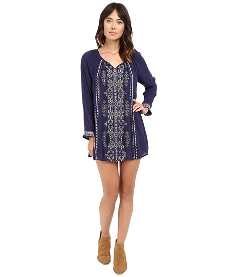 Brigitte Bailey Lyna Dress with Embroidery and Tassel Tie