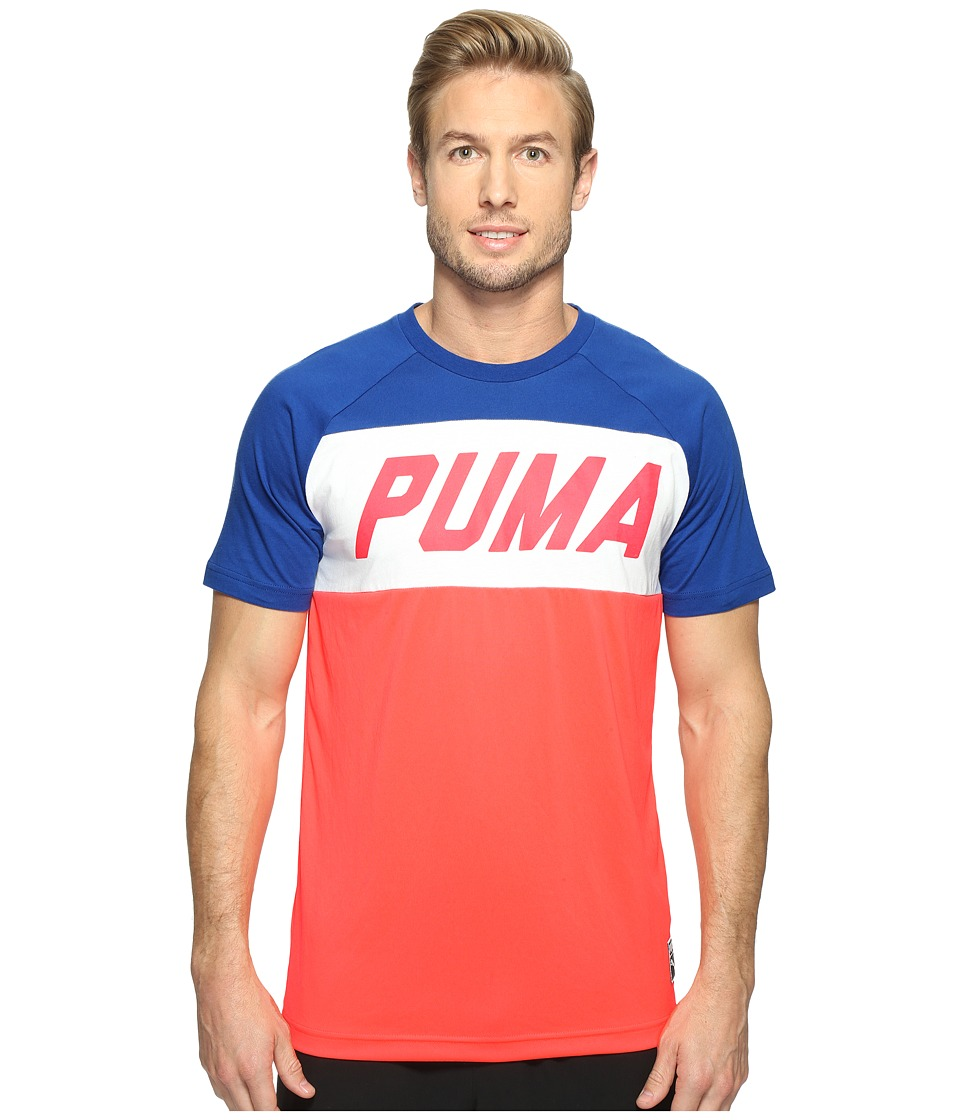 PUMA Color Block Tee (Bright Plasma) Men